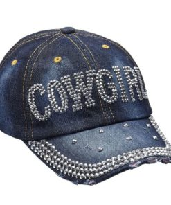 Denim & Silver Bling Cowgirl Cap