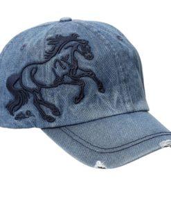AWST International Denim 3-D Galloping Horse Cap