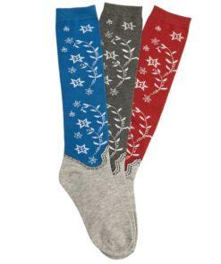 AWST International Ladies Western Boot Flowers Knee High Socks