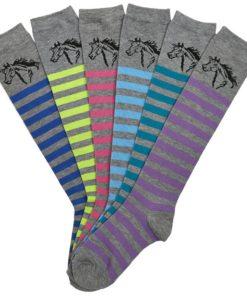 AWST International Lila Striped Knee High Socks - 6 Pack