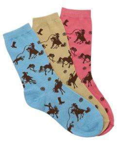 AWST International Rodeo Time Ladies Crew Socks 3-Pack