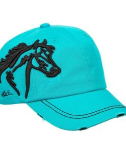 AWST International Turquoise 3-D Horse Head Cap